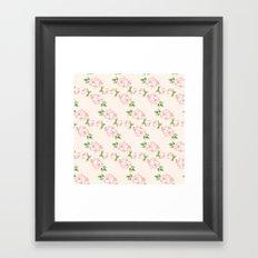 Pink Vintage Roses Pattern Framed Art Print