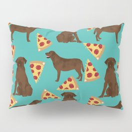chocolate lab pizza dog breed pet portrait gifts for labrador retriever lovers Pillow Sham