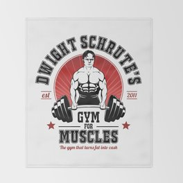 Schrute's Gym For Muscles Throw Blanket