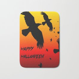 Happy Halloween Murder of Crows  Bath Mat