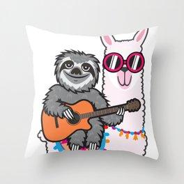 Sloth llama guitar Throw Pillow