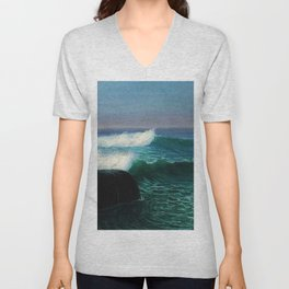 Surf at Twilight, ocean blue landscape painting by by D. Howard Hitchcock Unisex V-Neck