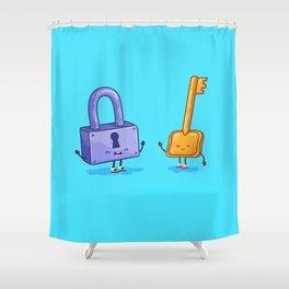 The key and lock (Best friends. Cartoon set) Shower Curtain