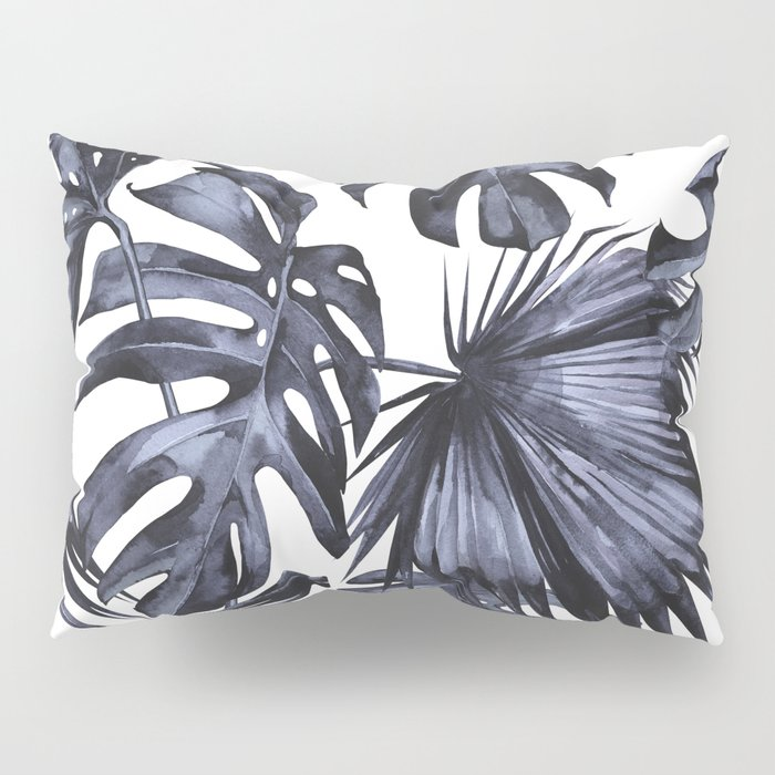 Classic Palm Leaves Navy Blue Pillow Sham
