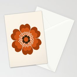 Coolie - retro flower 70s vibes minimalist floral 1970's colorful decor Stationery Cards