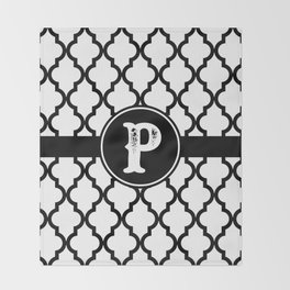 Black Monogram: Letter P Throw Blanket
