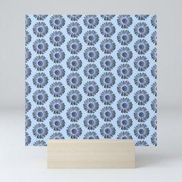 Blue Light Blue Daisy Pattern,Retro Mini Art Print