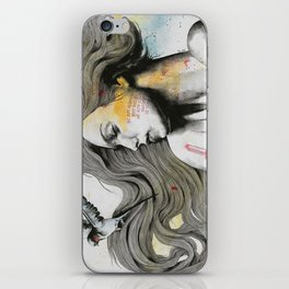 Monument (long hair girl with bird and skyline tattoo) iPhone Skin