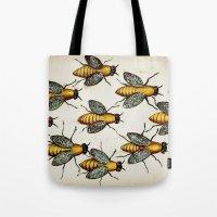 medieval Tote Bags featuring Medieval Swarm by Vintage Avenue