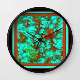 Black-Brown Turquoise December Birthstone Design. Wall Clock