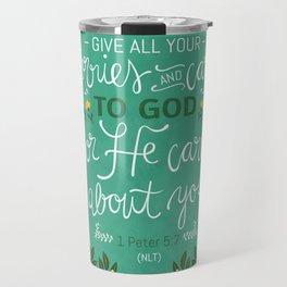 1 Peter 5:7 NLT Travel Mug