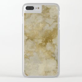 Shabby vintage white faux gold stylish marble Clear iPhone Case
