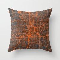 atlanta Throw Pillows featuring Atlanta map by Map Map Maps
