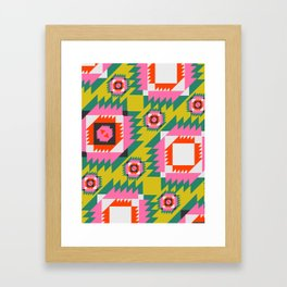 Bright sunny Aztec pattern Framed Art Print