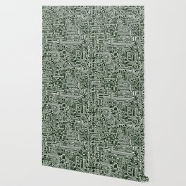 Circuit Board // Green & White Wallpaper