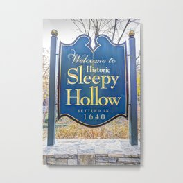 Sleepy Hollow Town Sign Metal Print