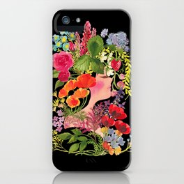 Spring Flowers (Black) - ハルの花 iPhone Case