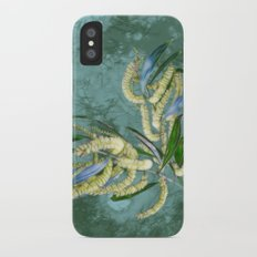 Abstract wattle in blue and green Slim Case iPhone X