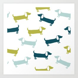 Lovely dachshunds in great colors Art Print