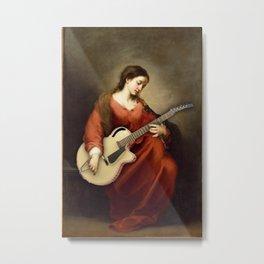 Electric Guitar Painting Parody Funny Metal Print