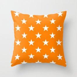Stars (White/Orange) Throw Pillow