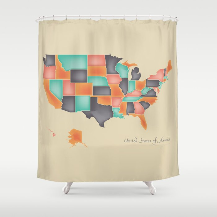 Modern Map United States Of America Usa Shower Curtain By Ingomenhard