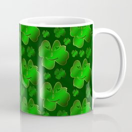 funny, laughing, shamrocks, green, st patricks day, shiny, gold, face, smile, shamrock Coffee Mug