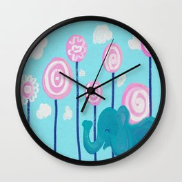 elephant in candy land Wall Clock