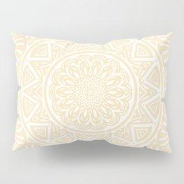 Pale Yellow Simple Simplistic Mandala Design Ethnic Tribal Pattern Pillow Sham