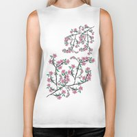 cherry blossoms Biker Tanks featuring Cherry Blossoms by famenxt