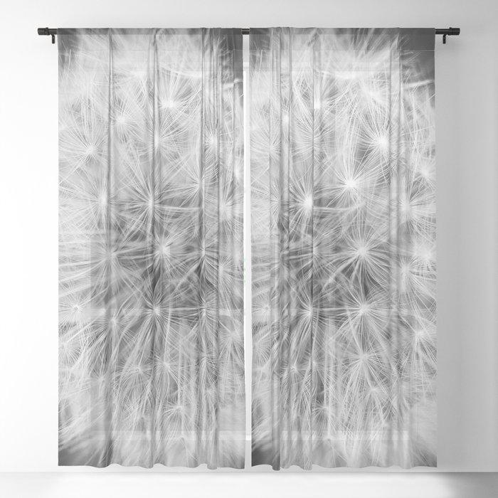White Dandelion Head Sheer Curtain, Dandelion Print Curtains