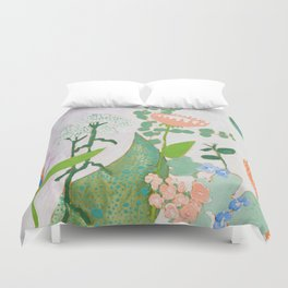 Multi Floral Painting on Pink and White Background Duvet Cover