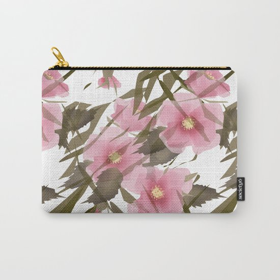 Pink white floral pattern . Carry-All Pouch