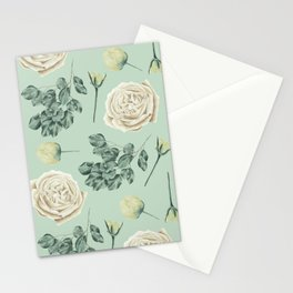 Rose Pattern Cream + Mint Green Stationery Cards