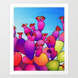 Purple Cactus berries Art Print