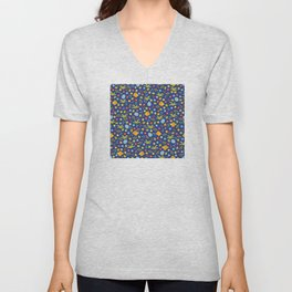 Easter Eggs and Yellow Baby Chick Pattern Unisex V-Neck