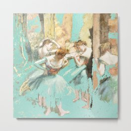DEGAS DANCERS GOLD AND MINT Metal Print