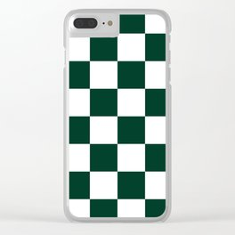 Large Checkered - White and Deep Green Clear iPhone Case