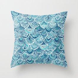 SPLASH Blue Watercolor Mermaid Scales Throw Pillow
