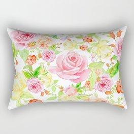 Bouquet of PINK & YELLOW rose - wreath Rectangular Pillow