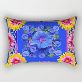 BUTTERFLIES FUCHSIA DAHLIA SUNFLOWER MORNING GLORY BLUE  FLORAL Rectangular Pillow