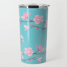 Cherry Blossom - Robin Egg Blue Travel Mug