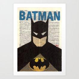 Book Page Bat man Art Print