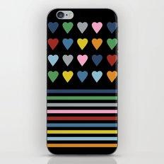 Heart Stripes Black iPhone & iPod Skin