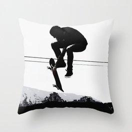 Flying High Skateboarder Throw Pillow