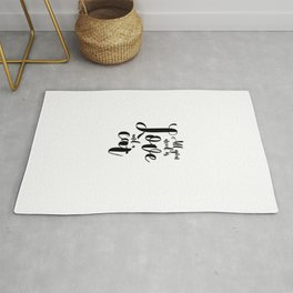 All you need is Love and a cat (black) Rug
