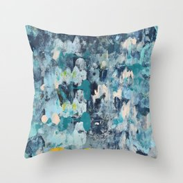 015: a bright contemporary abstract design in blues pinks and yellow by Alyssa Hamilton Art  Throw Pillow