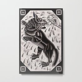 Wolf and Hand Metal Print
