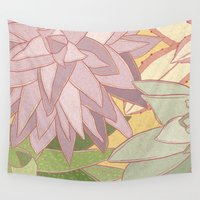 succulents Wall Tapestries featuring Succulents by Julia Walters Illustration