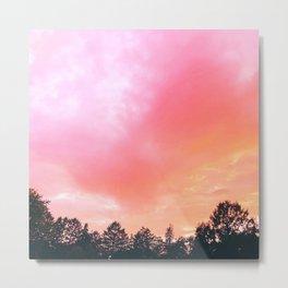 Red Haze | Pink Sky Treeline | Landscape Photography Metal Print